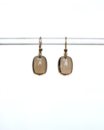 Smoky quartz barrel drop earring in 14k gold