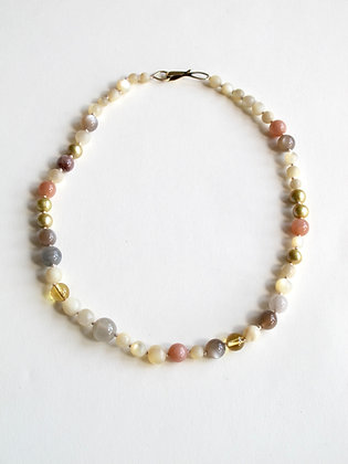 Mother of pearl and mixed gemstone necklace