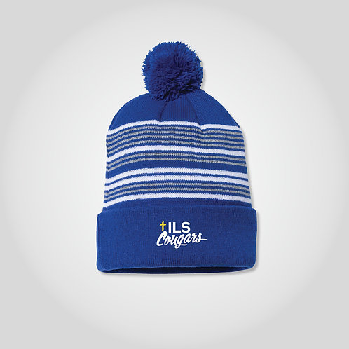Cougars PomPom Beanie in Royal/White/Grey