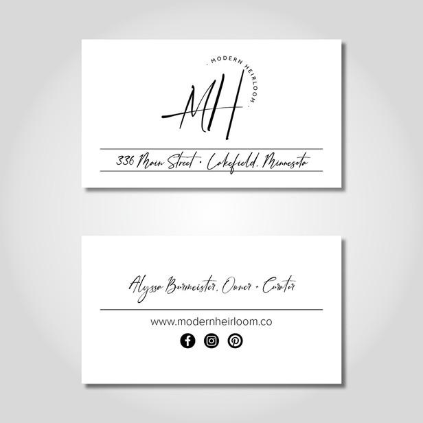 Modern Heirloom business cards