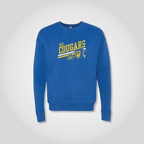 Vintage Look Cougars Crewneck Sweatshirt in True Royal