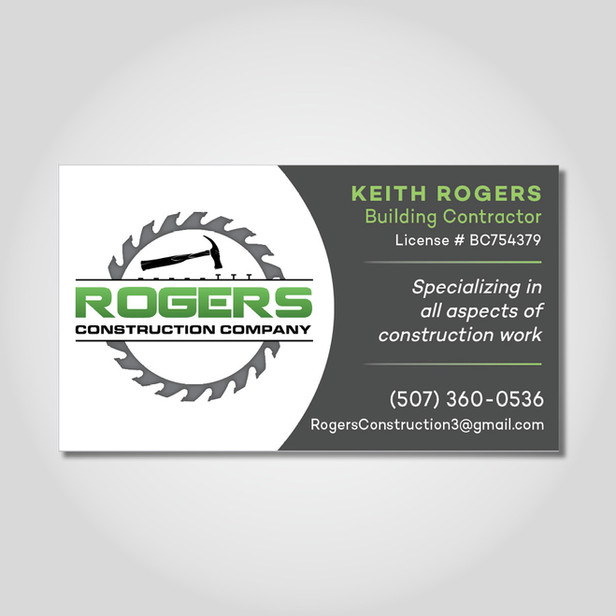 Rogers Construction business card