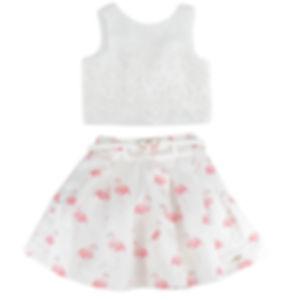 Conjunto Infantil Shorts Jeans Flamingo