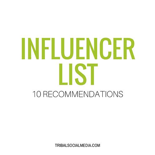 Instagram Influencer Recommendation List