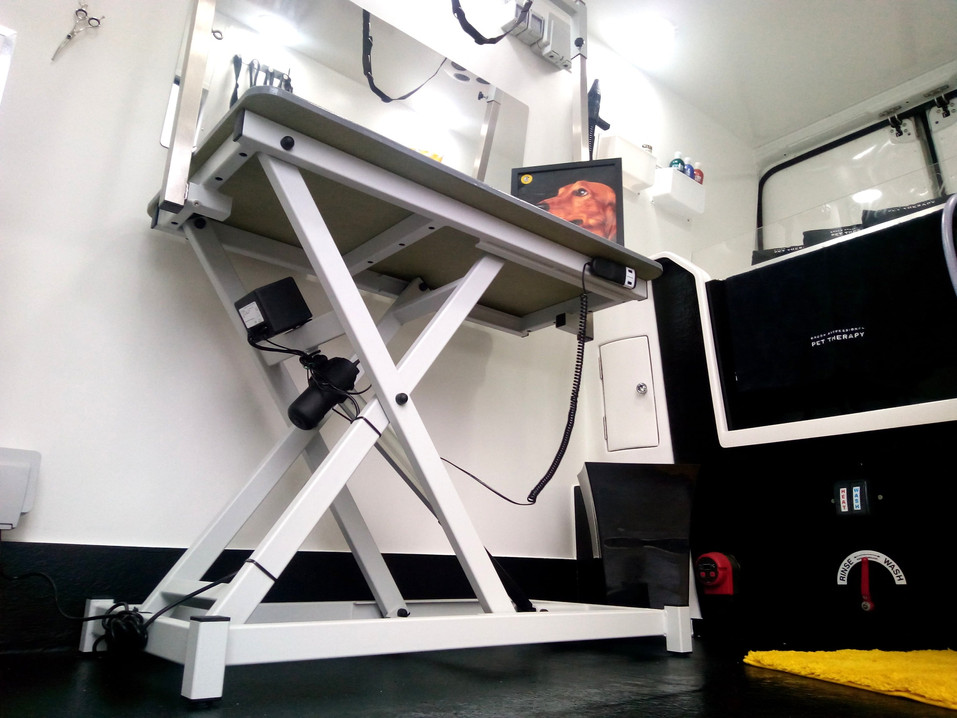 Our top-of-the-range, professional van fitted with a Hydrotherapy Bath & Hydraulic Table.