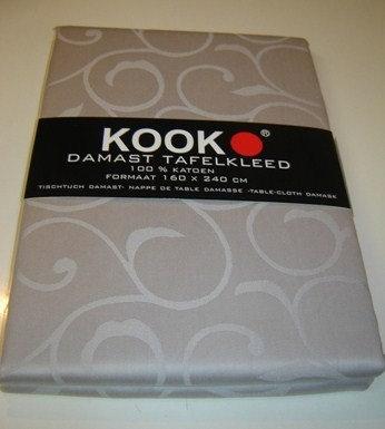 Tafelkleed 'Kook' damast (100% katoen) grijs/leem; 160 x 240 cm