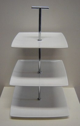 Etagiere 'Yong' 3-delig (bone china) vierkant; 34 cm hoog