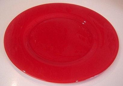'Arcoroc' onderbord rood (glas); 32 cm