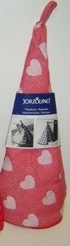 'Jorzolino' theedoek rood-wit hartjes (100% katoen); 65 cm