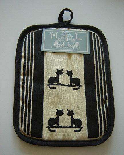 Pannenlap 'katten'; zwart-creme