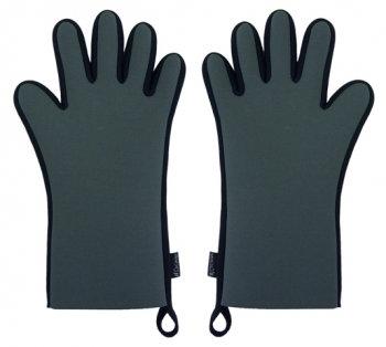 Ovenwanten met vingers (2 stuks: links en rechts); grijs/zwart