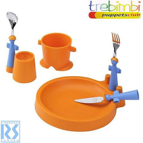 Puppets set oranje (kinderservies + bestek)