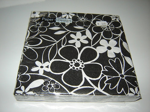 Servetten (papier) 'bloemen zwart-wit; 33 x 33 cm