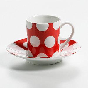 Polkadot rood: espressokop en schotel; 0;1 l.