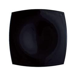 Quadrato zwart glas: bord 26 cm