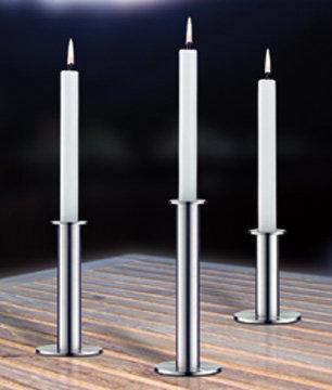 Kandelaar 'Auerhahn' (edelstaal glans); 15 cm (links op foto)