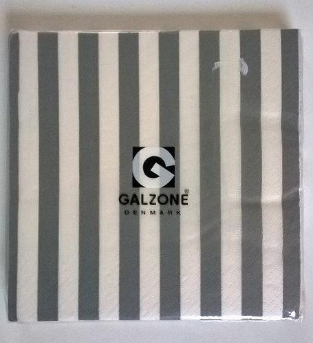 Servetten (papier) 'grijze streep'; 33 x 33 cm