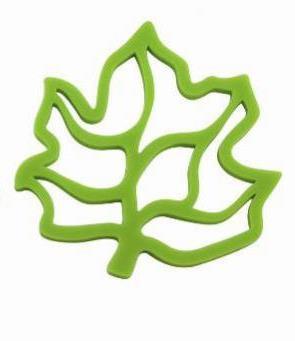 Pannenonderzetter 'Zone' (siliconen) blad; groen