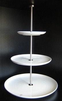 Etagiere 'Asa' 3-delig (porselein - mat r.v.s.); 49 cm hoog
