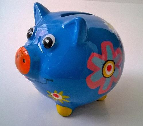 Spaarvarken klein; blauw