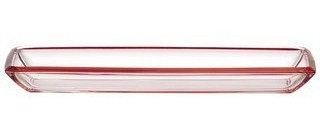 Corner schaal langwerpig rood; 41 x 14 x 4 h. cm
