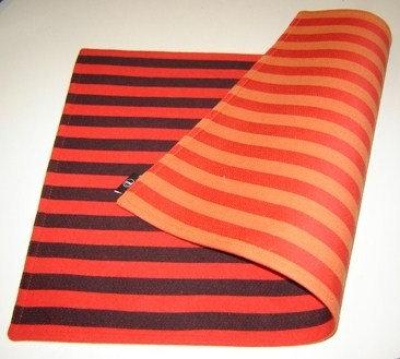 Placemat 'Zone' katoen (rood/oranje/zwart; 2 kanten); 48 x 33 cm