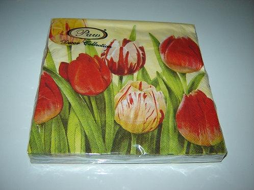 Servetten (papier) 'tulpen'; 33 x 33 cm