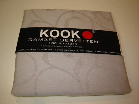 Servetten 'Kook' damast licht grijs/leem (100% katoen); 4 stuks