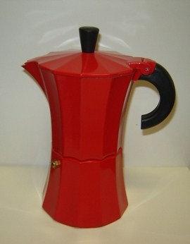 Espressopot 3 kops (aluminium); rood