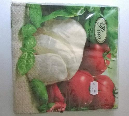 Servetten (papier) 'tomaat-mozzarella'; 33 x 33 cm