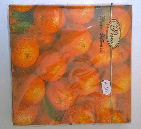 Servetten (papier) 'sinaasappelen'; 33 x 33 cm
