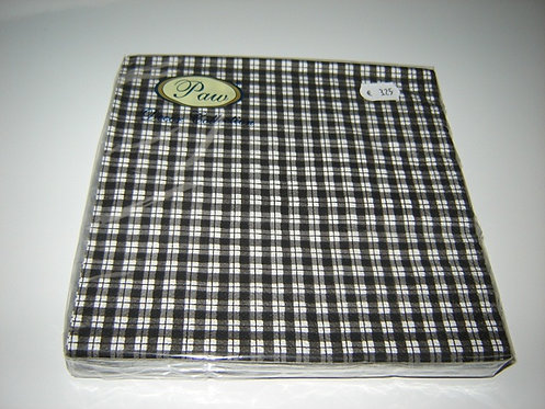 Servetten (papier) 'zwart-wit geblokt'; 33 x 33 cm