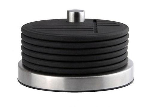 Onderzetters 'Zone' (siliconen/r.v.s.) op houder; zwart