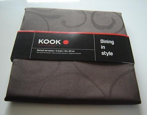 Servetten 'Kook' damast bruin (100% katoen); 4 stuks