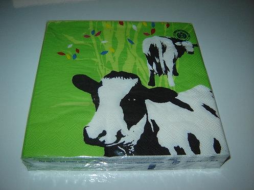 Servetten (papier) 'koeien'; 33 x 33 cm