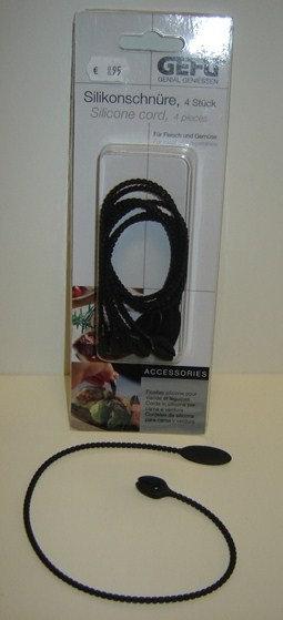 Bindtouw van siliconen (zwart); 4 draden: 37 cm