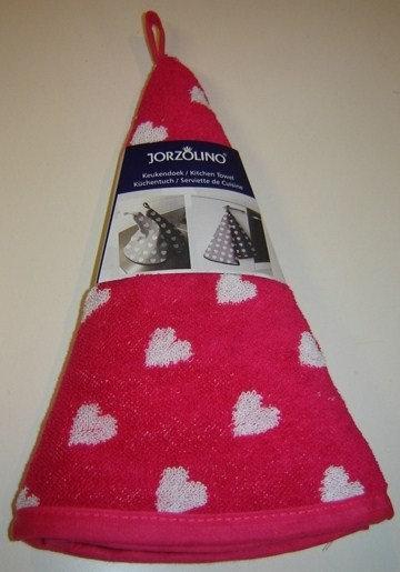 'Jorzolino' keukendoek roze-wit hartjes (100% katoen); 60 cm