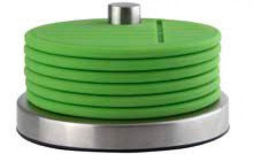 Onderzetters 'Zone' (siliconen/r.v.s.) op houder; groen