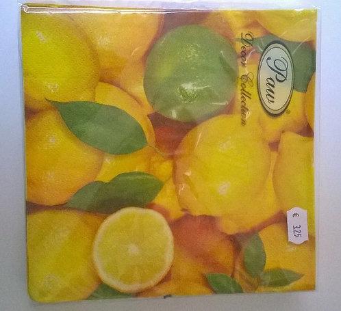 Servetten (papier) 'citroenen'; 33 x 33 cm