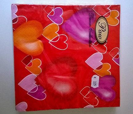 Servetten (papier) 'hartjes'; 33 x 33 cm
