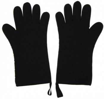 Ovenwanten met vingers (2 stuks: links en rechts); zwart/zwart