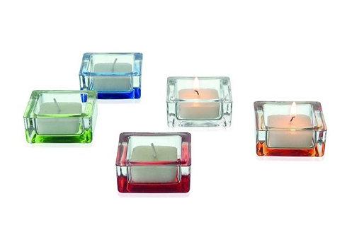Corner sfeerlicht vierkant oranje; 6 x 6 x 2 h. cm