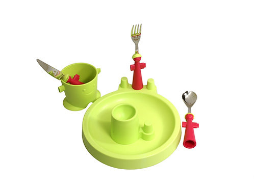 Puppets set groen (kinderbestek + servies)