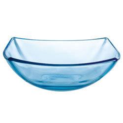 Quadrato blauw glas: schaal 24 cm