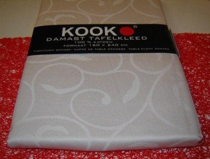 Tafelkleed 'Kook' damast (100% katoen) champagne; 160 x 240 cm