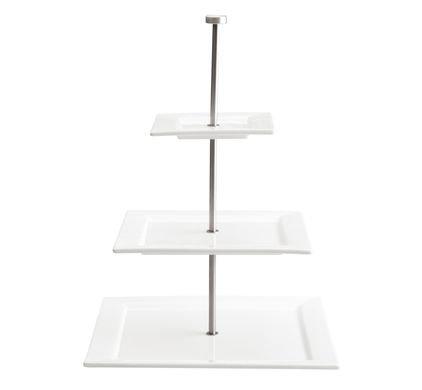 Etagiere 'Asa' 3-delig (porselein/mat rvs) vierkant; 47 cm hoog