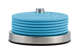 Onderzetters 'Zone' (siliconen/r.v.s.) op houder; blauw