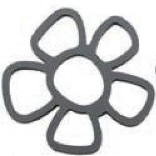 Pannenonderzetter 'Zone' (siliconen) bloem; grijs