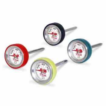 Thermometers 'Steak' (pocketmodel); set van 4 stuks/kleuren