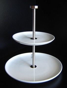 Etagiere 'Asa' 2-delig (porselein - mat r.v.s.); 24 cm hoog